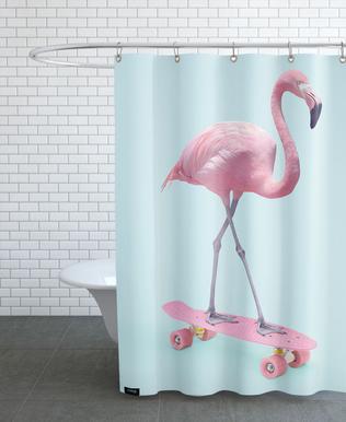 Skate Flamingo Shower Curtain