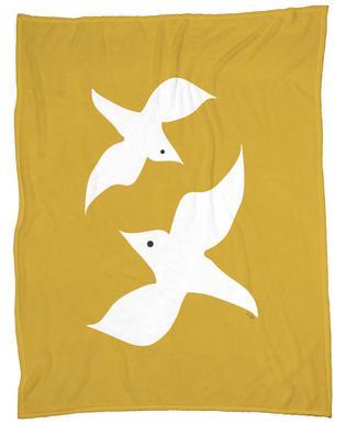 Birds in Mustard Fleece Blanket