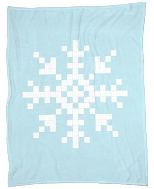 Pixel Snowflake Blue Fleece Blanket