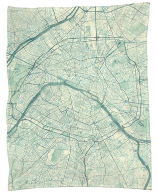 Paris Vintage Fleece Blanket