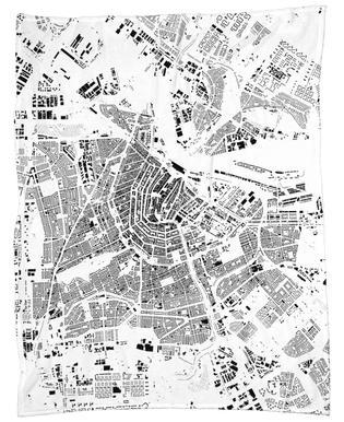 Amsterdam Map Schwarzplan Fleece Blanket