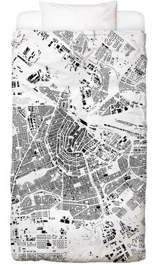 Amsterdam Map Schwarzplan Bed Linen