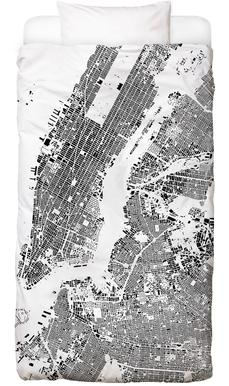 New York Map Schwarzplan Bed Linen