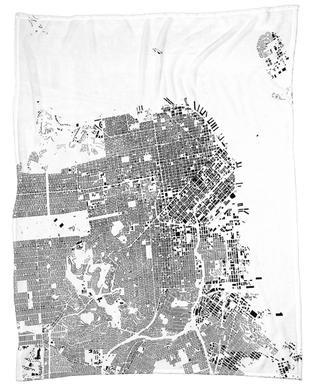 San Fransico Map Schwarzplan Fleece Blanket