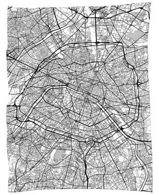 Paris Minimal Fleece Blanket