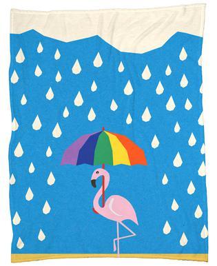 Flamingo de Umbrella Fleecetæppe