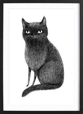 Black Cat - Poster in Wooden Frame