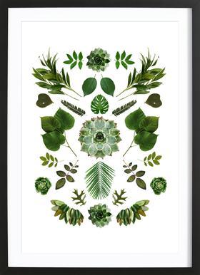 Green Collage - Affiche sous cadre en bois