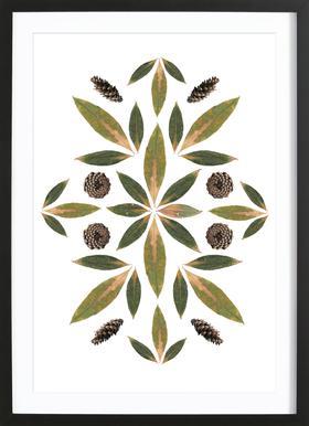Pinecones and Leaves -Bild mit Holzrahmen
