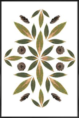 Pinecones and Leaves -Bild mit Kunststoffrahmen