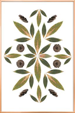 Pinecones and Leaves -Poster im Alurahmen