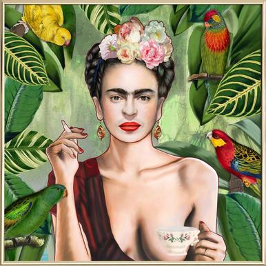 Frida Con Amigos -Poster im Alurahmen