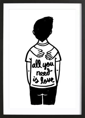 All You Need Is Love (B&W) Framed Print