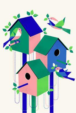 Bird House -Acrylglasbild
