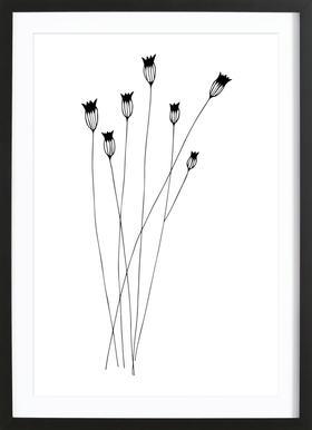 Kornblumen -Bild mit Holzrahmen