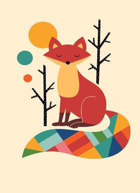 Rainbow Fox -Leinwandbild