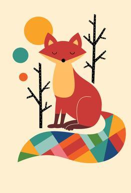 Rainbow Fox Aluminium Print