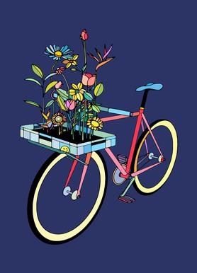 Bike and Flowers canvas doek