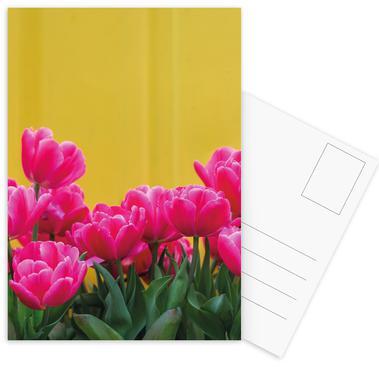 Pink Tulips Yellow -Postkartenset