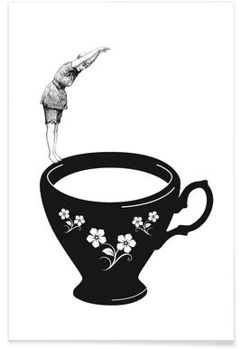Kopfsprung in Teetasse - Premium Poster