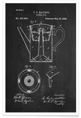 Koffiepot - patent poster