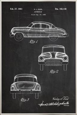Automobile poster in aluminium lijst