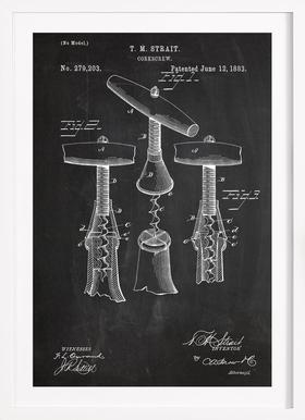 Corkscrew - Poster im Holzrahmen