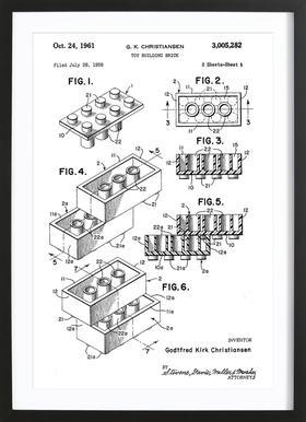 Brick System 1 ingelijste print