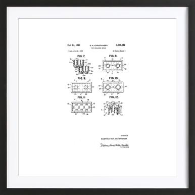 Brick System 3 ingelijste print