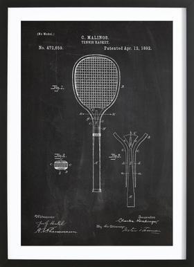 Tennis Racket - Affiche sous cadre en bois