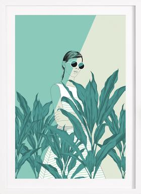 The Blue Nature - Poster in Wooden Frame