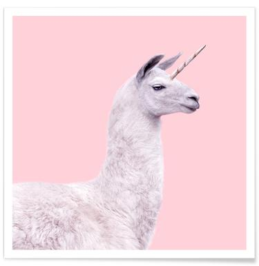 Llama Unicorn - Premium Poster