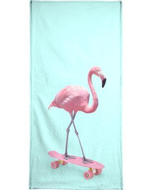 Skate Flamingo Beach Towel