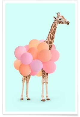 Party Giraffe - Premium Poster