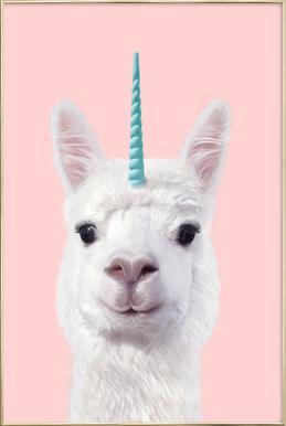 Alpaca Unicorn affiche sous cadre en aluminium