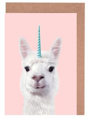Alpaca Unicorn -Grußkarten-Set