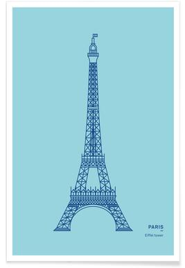Blue Eiffel Tower Poster