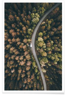 Forest Road Aerial Photograph Poster