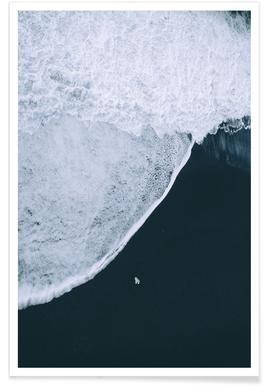 Black Beach Aerial Photograph Poster