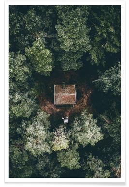 Versteckte Hütte-Luftaufnahme -Poster