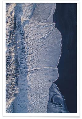 Ocean Waves Dark Photograph Poster