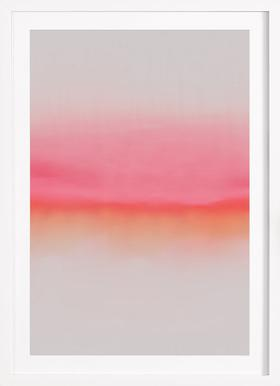 Pink Horizon - Poster in Wooden Frame