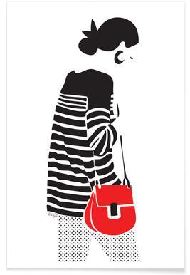 Stripy Parisian Poster