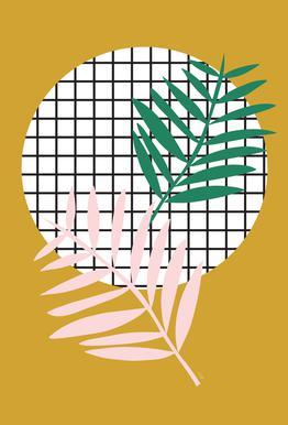 Palm Leaves in Mustard Aluminium Print