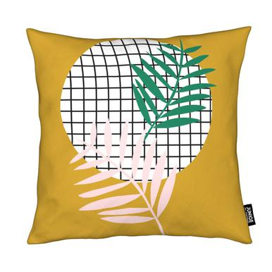 Palm Leaves in Mustard coussin