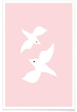 Tropical Bird in Pink Poster