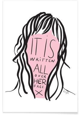 Writing on Her Face Poster
