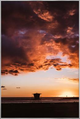 Pacific Sunset Poster in Aluminium Frame