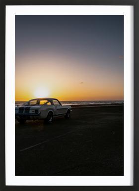 Sunset Mustang affiche sous cadre en bois