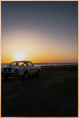 Sunset Mustang Poster in Aluminium Frame